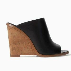 Zara leather peep toe mules EUC